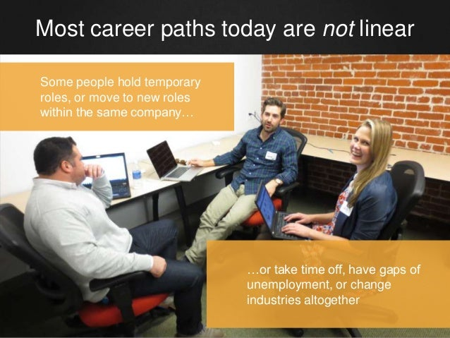 Most career paths today are not linear Some people hold temporary roles, or move to new roles within the same company… …or...