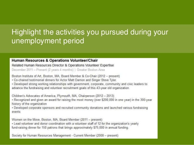 Highlight the activities you pursued during your unemployment period