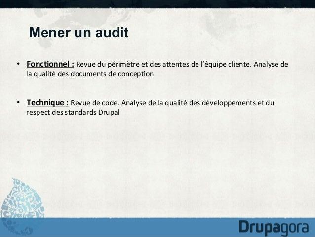 Mener un audit • Fonc1onnel  :  Revue  du  périmètre  et  des  aKentes  de  l'équipe  cliente.  Ana...