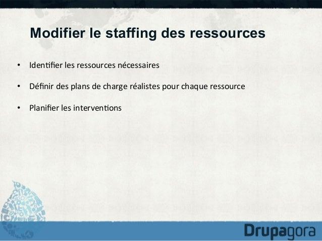 Modifier le staffing des ressources • Iden)fier  les  ressources  nécessaires   • Définir  des  plans  de  ...