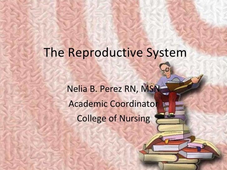 The Reproductive System Nelia B. Perez RN, MSN Academic Coordinator College of Nursing