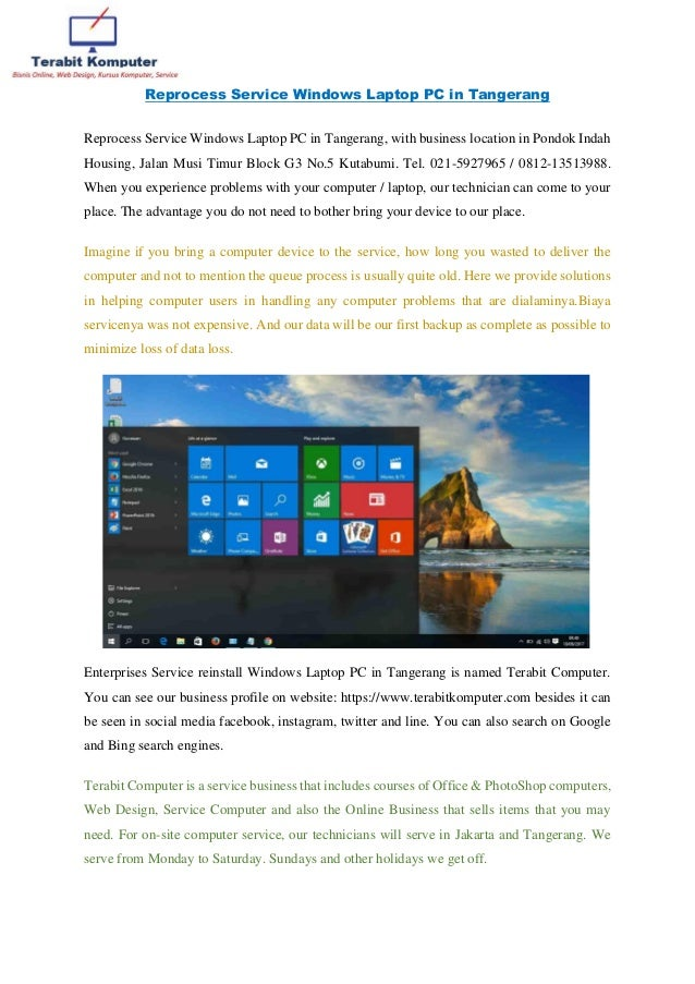 adf51479713 Reprocess Service Windows Laptop PC in Tangerang Reprocess Service Windows  Laptop PC in Tangerang, ...