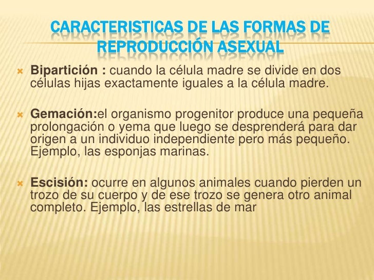 Escision asexual and sexual reproduction