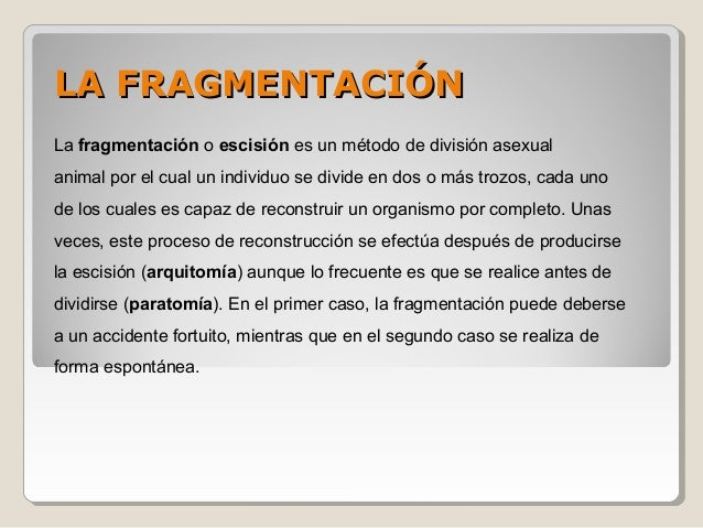 Escision o fragmentacion asexual propagation