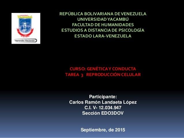 REPÚBLICA BOLIVARIANA DEVENEZUELA UNIVERSIDADYACAMBÚ FACULTAD DE HUMANIDADES ESTUDIOS A DISTANCIA DE PSICOLOGÍA ESTADO LAR...