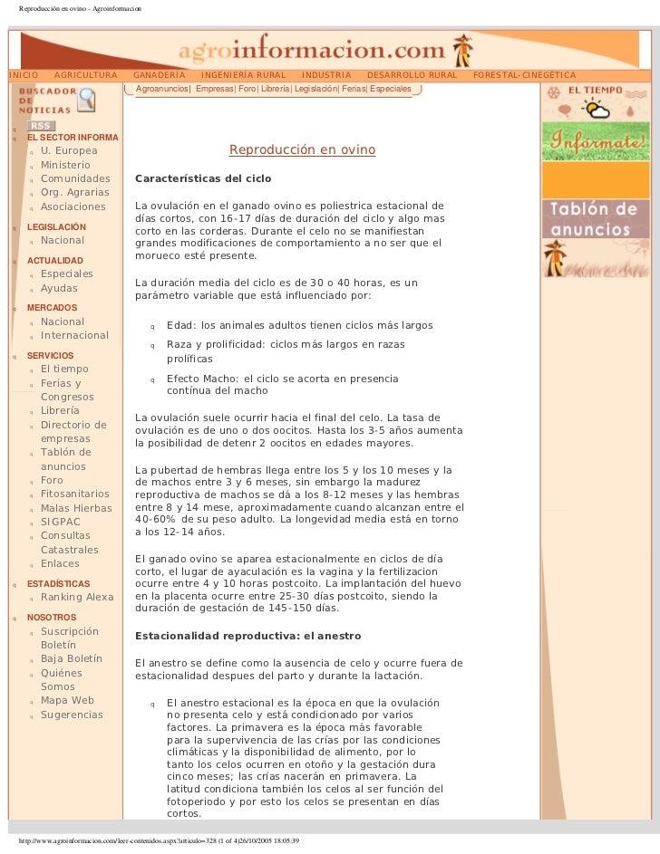 Reproducción en ovino - AgroinformacionINICIO         AGRICULTURA               GANADERÍA             INGENIERÍA RURAL    ...