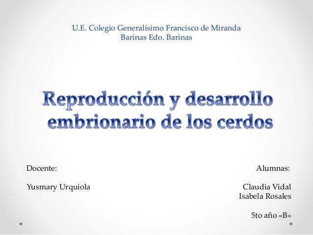 Reproduccion y desarrollo embrionario de los cerdos