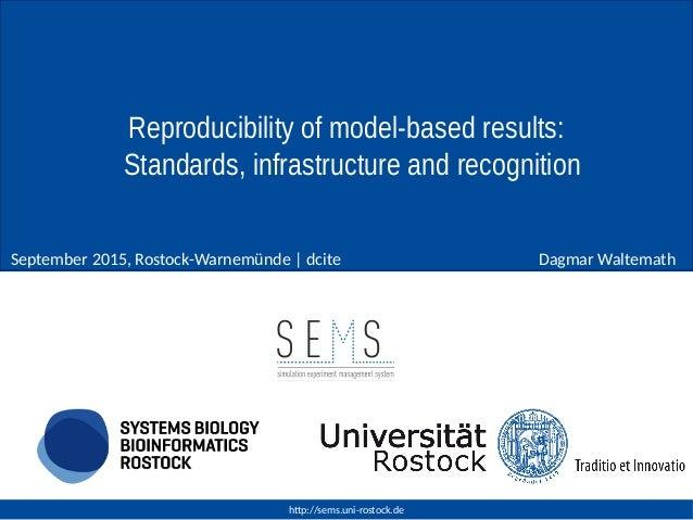 http://sems.uni-rostock.de Dagmar WaltemathSeptember 2015, Rostock-Warnemünde | dcite Reproducibility of model-based resul...
