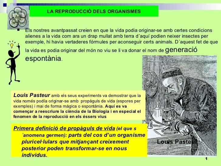 Louis Pasteur LA REPRODUCCIÓ DELS ORGANISMES <ul><li>Els nostres avantpassat creien en que la vida podia originar-se amb c...