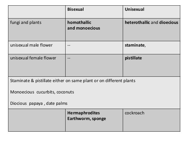 Difference between unisexual and bisexual plants