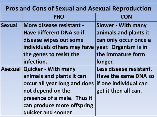 Asexual vs sexual reproduction pros and cons