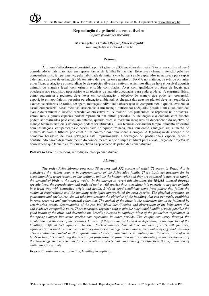 Rev Bras Reprod Anim, Belo Horizonte, v.31, n.3, p.344-350, jul./set. 2007. Disponível em www.cbra.org.br                 ...