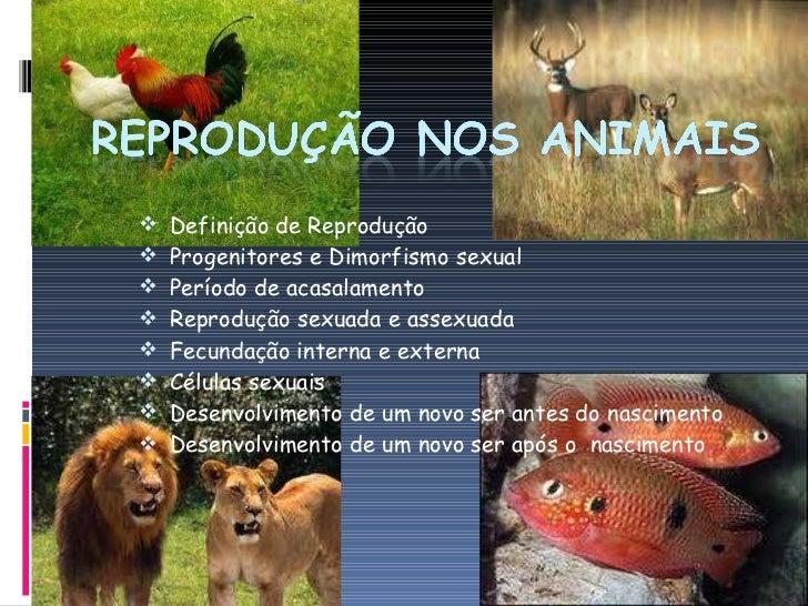 <ul><li>Definição de Reprodução </li></ul><ul><li>Progenitores e Dimorfismo sexual </li></ul><ul><li>Período de acasalamen...