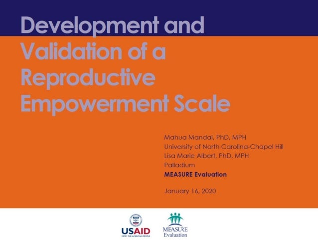 "• ""Reproductive Empowerment Scale: Psychometric Validation in Nigeria"" • https://www.measureevalu ation.org/resources/publ..."