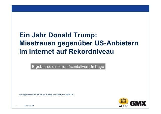 Januar 20181 Ein Jahr Donald Trump: Misstrauen gegenüber US-Anbietern im Internet auf Rekordniveau Ergebnisse einer repräs...