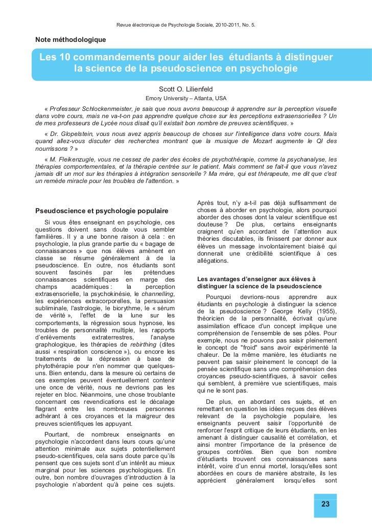 Revue électronique de Psychologie Sociale, 2010-2011, No. 5.Note méthodologique Les 10 commandements pour aider les étudia...