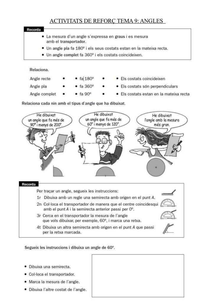 ACTIVITATS DE REFORÇ TEMA 9: ANGLES