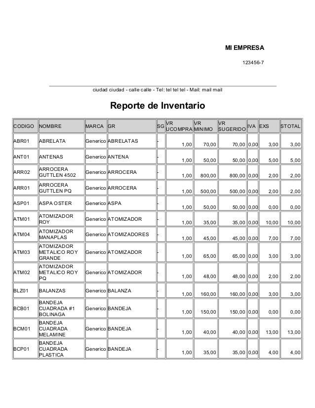MI EMPRESA 123456-7  ciudad ciudad - calle calle - Tel: tel tel tel - Mail: mail mail  Reporte de Inventario CODIGO NOMBRE...