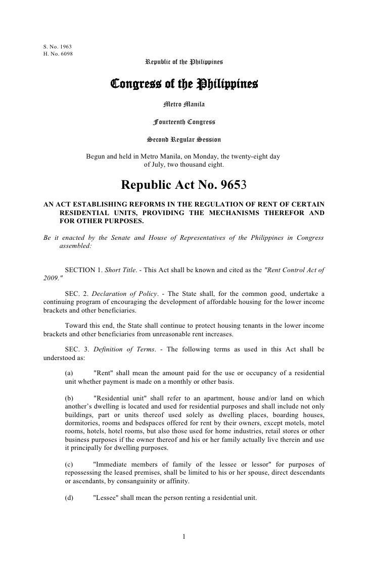 Republic Act No 9653 Rent Control Act 2009