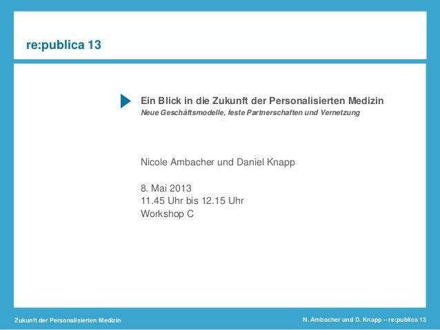 Zukunft der Personalisierten Medizin N. Ambacher und D. Knapp – re:publica 13Ein Blick in die Zukunft der Personalisierten...
