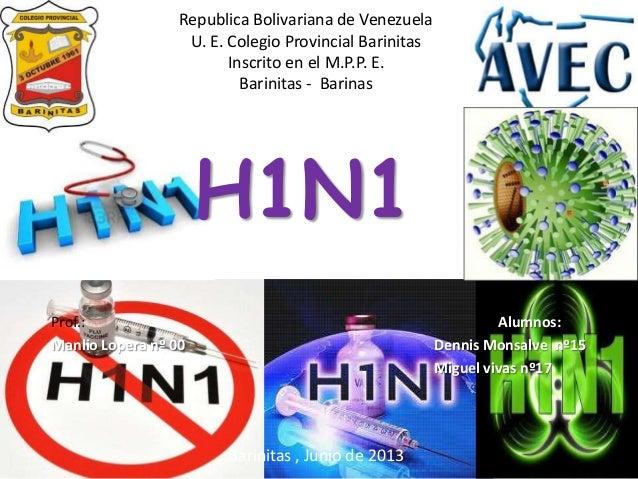 Republica Bolivariana de VenezuelaU. E. Colegio Provincial BarinitasInscrito en el M.P.P. E.Barinitas - BarinasH1N1Barinit...