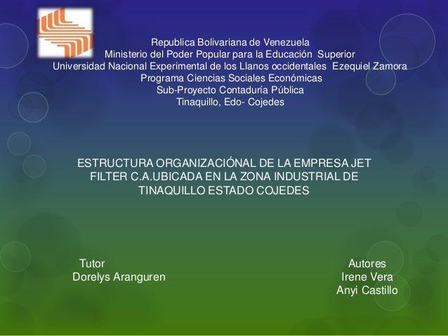 Republica Bolivariana de Venezuela  Ministerio del Poder Popular para la Educación Superior  Universidad Nacional Experime...