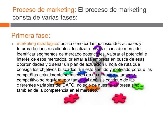 Proceso de marketing: El proceso de marketing consta de varias fases: Primera fase:  marketing estratégico: busca conocer...