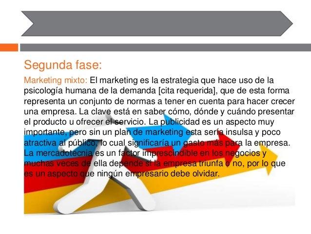 Segunda fase: Marketing mixto: El marketing es la estrategia que hace uso de la psicología humana de la demanda [cita requ...