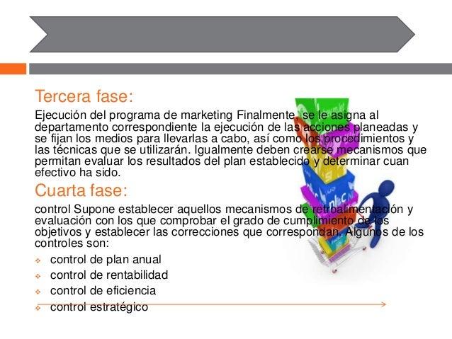 Tercera fase: Ejecución del programa de marketing Finalmente, se le asigna al departamento correspondiente la ejecución de...
