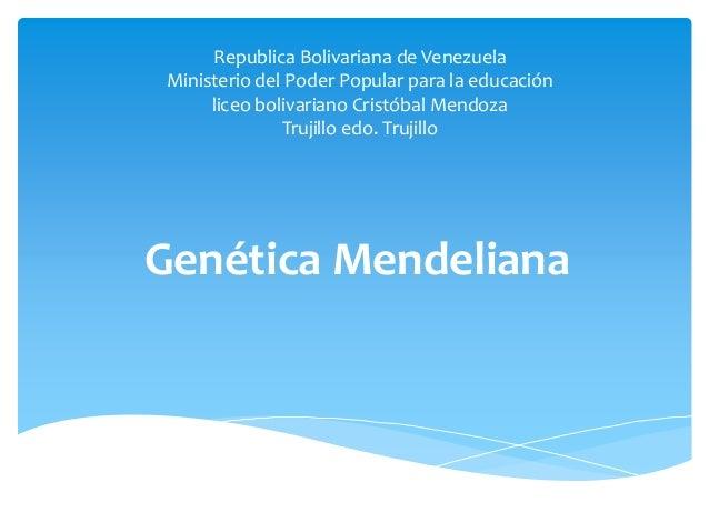 Republica Bolivariana de Venezuela Ministerio del Poder Popular para la educación liceo bolivariano Cristóbal Mendoza Truj...