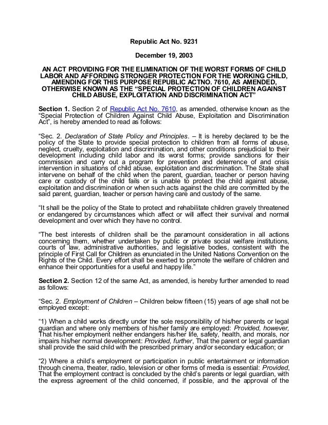 Republic Act No. 9231 Essay Sample