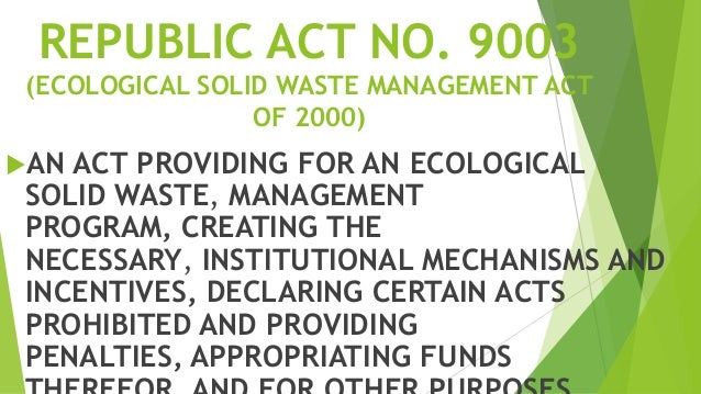 ecological solid waste management Solid waste disposal is one of those rare endeavors where success breeds anonymity to the credit of local waste management agencies and contractors, their service is highly inconspicuous in northeastern illinois this low profile belies the importance and complexity of efficient trash collection .