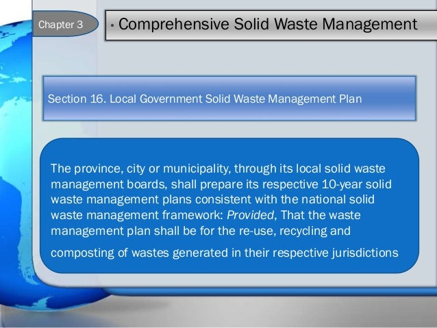 republic act no 9003 The republic act (ra) no 9003, widely known as the ecological solid waste management act of 2000, provides the required policy framework, institutional mechanisms and mandate to the local .