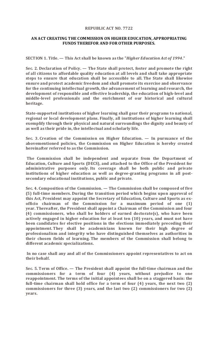 REPUBLIC ACT NO. 7722  AN ACT CREATING THE COMMISSION ON HIGHER EDUCATION, APPROPRIATING               FUNDS THEREFOR AND ...