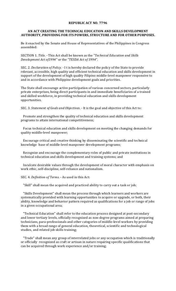 Republic Act No7796 Tesda Law