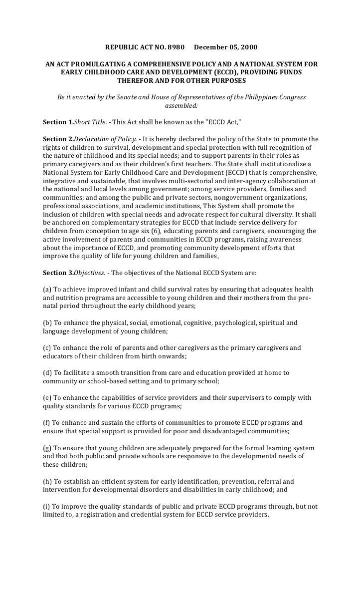 REPUBLIC ACT NO. 8980          December 05, 2000AN ACT PROMULGATING A COMPREHENSIVE POLICY AND A NATIONAL SYSTEM FOR    EA...