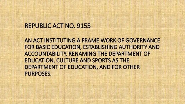 Republic Act No. 9155 Slide 2