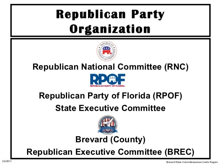 Republican Party Organization <ul><li>Republican National Committee (RNC) </li></ul><ul><li>Republican Party of Florida (R...