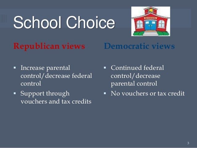 School ChoiceRepublican views             Democratic views Increase parental           Continued federal  control/decrea...