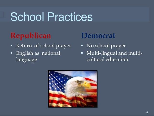 School PracticesRepublican                  Democrat Return of school prayer    No school prayer English as national   ...