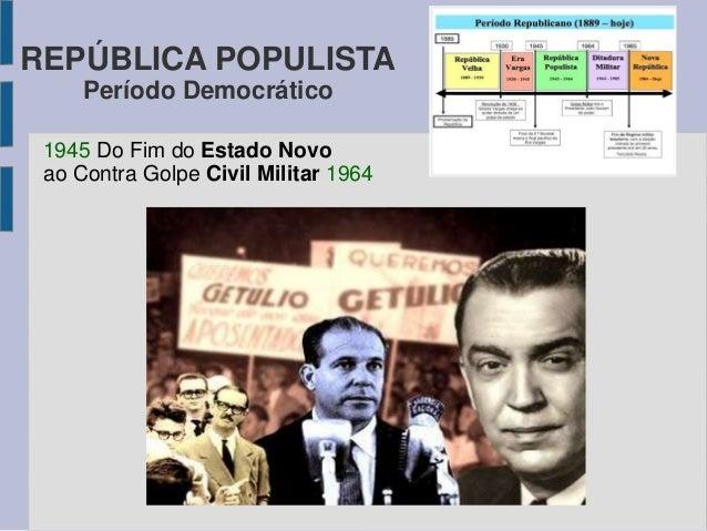 REPÚBLICA POPULISTA  Período Democrático  1945 Do Fim do Estado Novo  ao Contra Golpe Civil Militar 1964