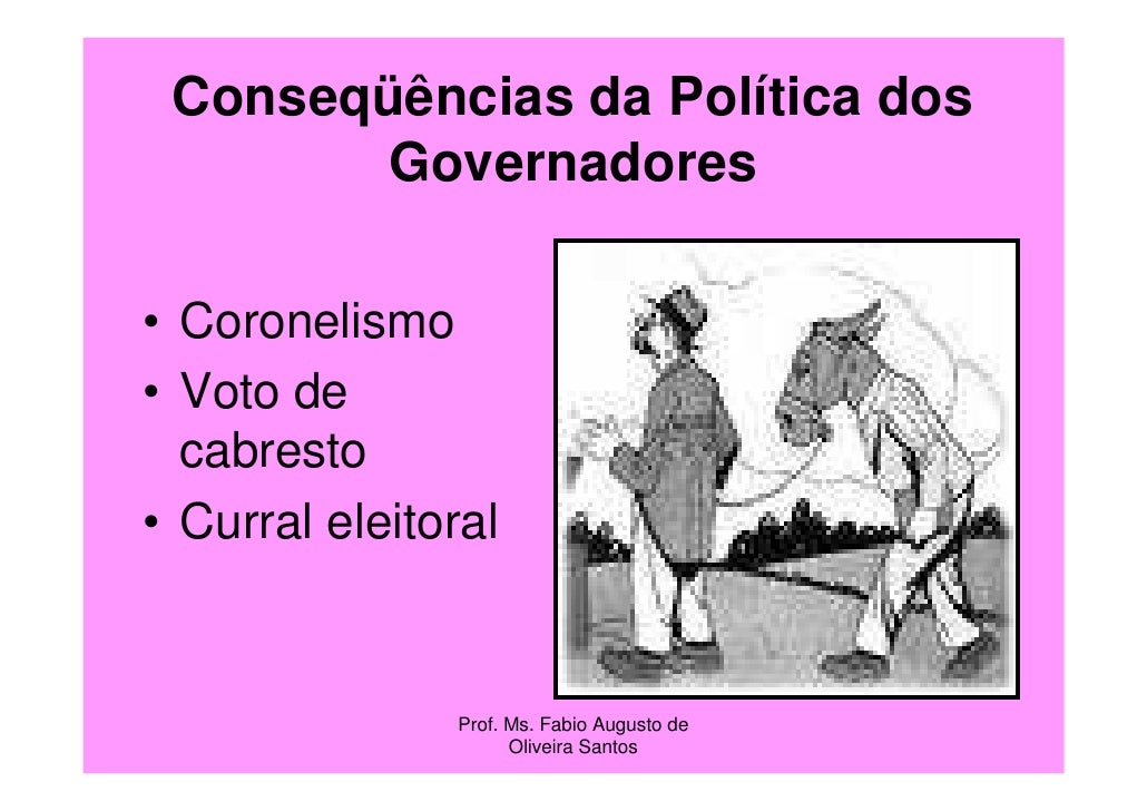 Conseqüências da Política dos        Governadores• Coronelismo• Voto de  cabresto• Curral eleitoral               Prof. Ms...