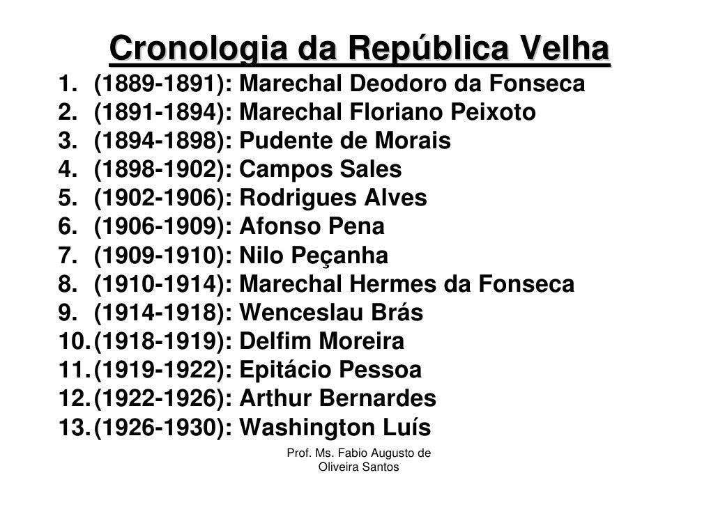 Cronologia da República Velha1. (1889-1891): Marechal Deodoro da Fonseca2. (1891-1894): Marechal Floriano Peixoto3. (1894-...