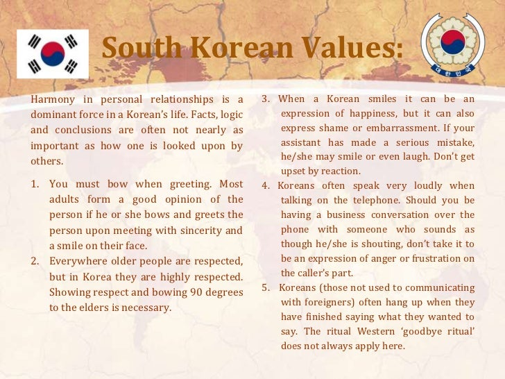 South Korean Norms:Verbal and non-verbal indicators you may           3. Avoid criticizing someone in public,want to keep ...