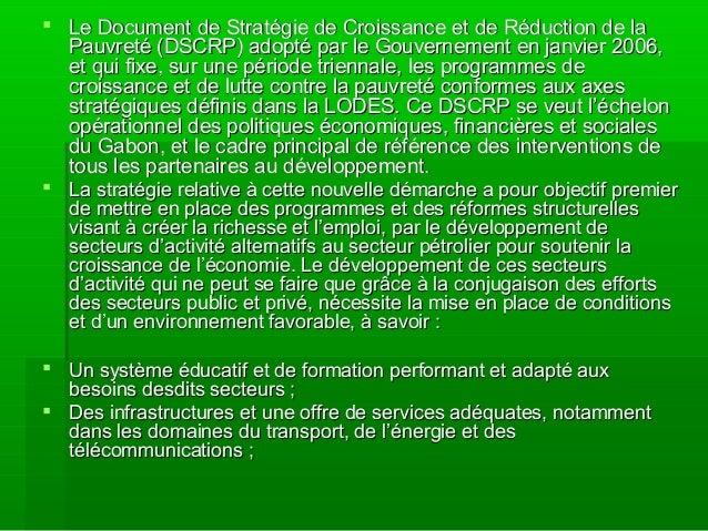  Le Document de Stratégie de Croissance et de Réduction de laLe Document de Stratégie de Croissance et de Réduction de la...