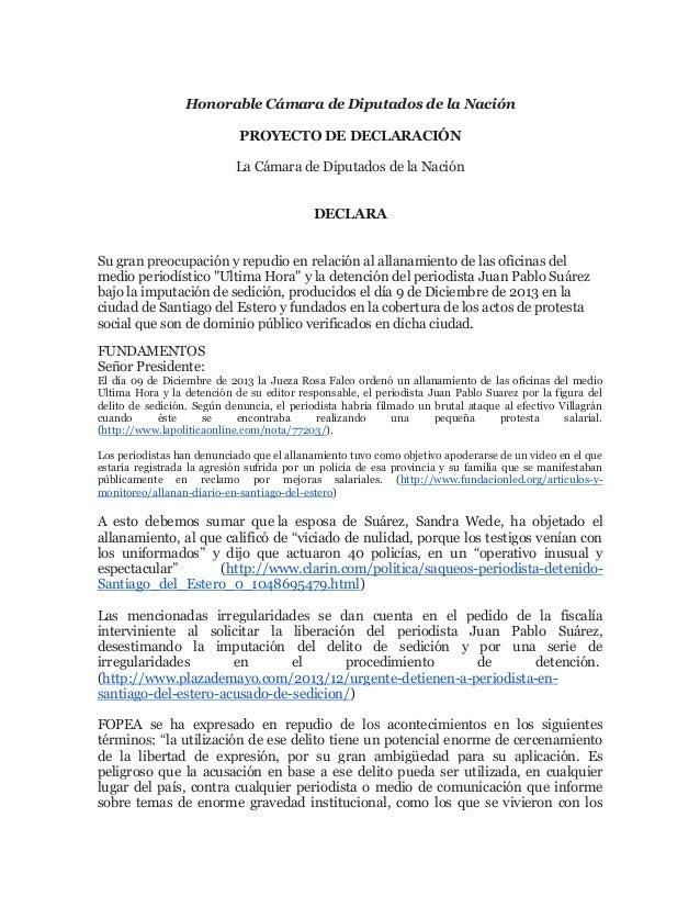 Honorable Cámara de Diputados de la Nación PROYECTO DE DECLARACIÓN La Cámara de Diputados de la Nación DECLARA Su gran pre...