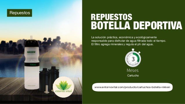 9 www.entornovital.com/producto/cartuchos-botella-nikken Repuestos REPUESTOS BOTELLA DEPORTIVA La solución práctica, econó...