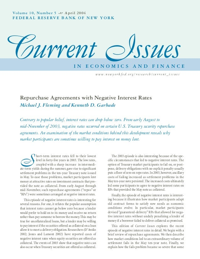 Repurchase Agreements And Negative Interest Rates