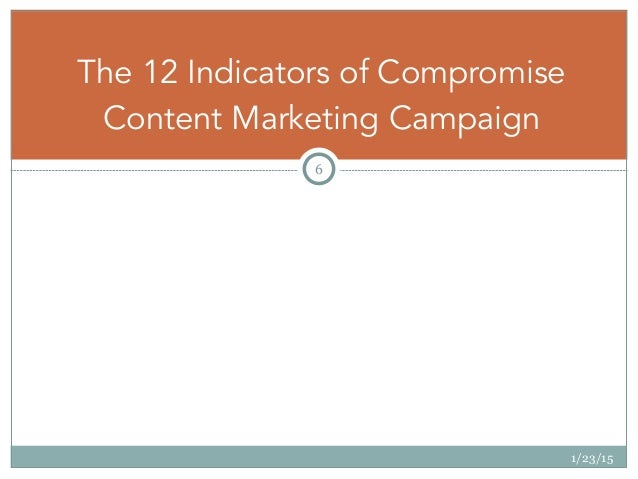 1/23/15 6 The 12 Indicators of Compromise Content Marketing Campaign