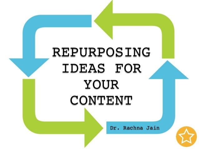 REPURPOSING IDEAS FOR YOUR CONTENT Dr. Rachna Jain